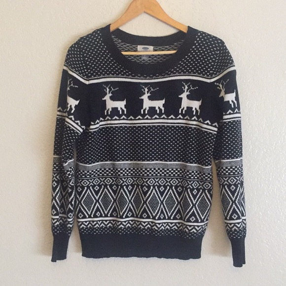 Old Navy Sweaters Black And White Christmas Sweater Poshmark